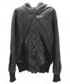GIORGIO BRATO(ジョルジオ ブラッド)の古着「レザーフーデッドジャケット」 ブラック