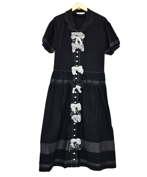 WONDERFUL WORLD(ワンダフルワールド)WONDERFUL WORLD (ワンダフルワールド) ステッチリボンワンピース ブラック サイズ:下記参照 W36FA22の古着・服飾アイテム
