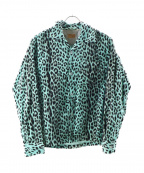 STYLE EYES(スタイルアイズ)の古着「ベロアレオパードオープンカラーシャツ」|ミントグリーン