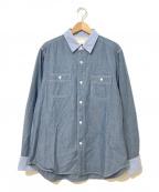 GANRYU(ガンリュウ)の古着「切替シャンブレーシャツ」 ブルー
