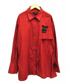 ROKH(ロック)の古着「アシンメトリーデザインシャツ」|レッド