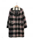 CHESTY(チェスティー)の古着「ビジューチェックコート」 ブラック