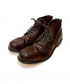 PADRONE(パドローネ)の古着「WING TIP BOOTS with BACK ZIP」 ブラウン