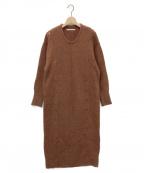 Little suzie()の古着「Button Layered Knit Dress」 ブラウン