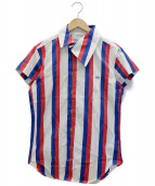 ()の古着「アシメカラーストライプシャツ」 ホワイト