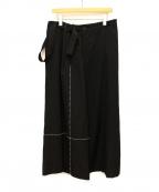Y's(ワイズ)の古着「ステッチワンショルダーワイドパンツ」|ブラック