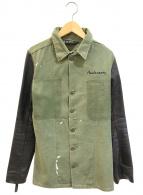 ()の古着「再構築レザースリーブミリタリージャケット」 オリーブ