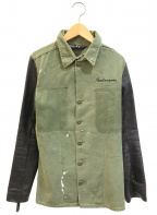 gilet(ジレ)の古着「再構築レザースリーブミリタリージャケット」|オリーブ
