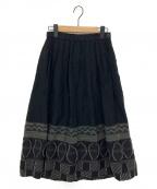HaaT(ハート)の古着「刺繍ギャザースカート」 ブラック