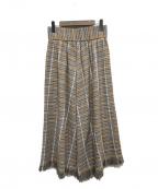 WRAPINKNOT(ラッピンノット)の古着「チェックフリンジロングスカート」|キャメル