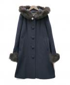 LAISSE PASSE(レッセパッセ)の古着「フード付Aラインコート」|ネイビー