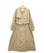 LE PHIL(ル フィル)の古着「スーピマサテンストレッチノーカラーコート」 ベージュ