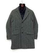 MOORER(ムーレー)の古着「ファー付きツイードコート / HARRIS-FUR-RCA」 グレー