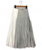 ADAWAS(アダワス)の古着「ストライププリーツフレアスカート」 グレーマルチ