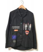 ()の古着「コラージュパッチジャケット」|ブラック
