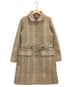 SOFIE DHOORE(ソフィードール)の古着「ベルテッドチェックコート」|ベージュ