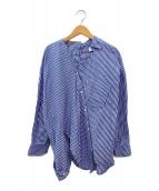 ()の古着「ストライプアシンメトリーシャツ」 ブルー×ホワイト