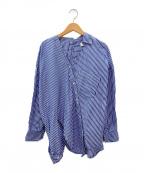 ENFOLD(エンフォルド)の古着「ストライプアシンメトリーシャツ」 ネイビー