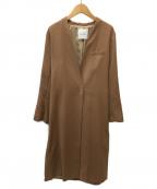 LAGUNA MOON(ラグナムーン)の古着「ノーカラーロングコート」|ベージュ