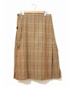 Burberrys(バーバリーズ)の古着「[OLD]英国製チェックラップスカート」|ベージュ