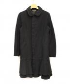 BLACK COMME des GARCONS(ブラックコムデギャルソン)の古着「ポリ縮絨丸襟コート」|ブラック