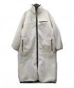 Snidel()の古着「リバーシブルボアロングコート」 ブラック×ホワイト