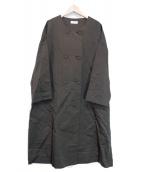 atelier naruse(アトリエナルセ)の古着「リネンコットンノーカラーコート」|オリーブ
