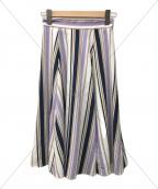 JUSGLITTY()の古着「NEWストライプフレアスカート」|バイオレット