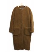 FIGARO(フィガロ)の古着「ノーカラーボアコート」|ブラウン