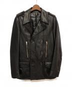 DIOR HOMME(ディオール オム)の古着「中綿レザーPコート」 ブラック