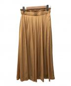 KUMIKYOKU(クミキョク)の古着「シルキーリネオフレアスカート」|オレンジ