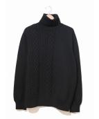 FIT MIHARA YASUHIRO(フィット ミハラヤスヒロ)の古着「ケーブル編みかえタートルネックニット」|ブラック