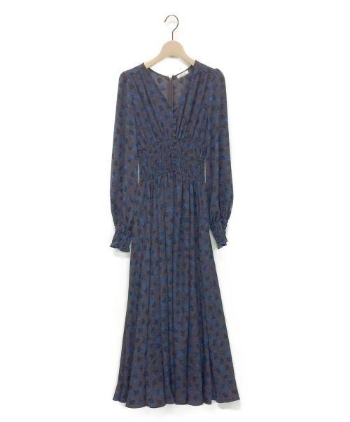 FRAY ID(フレイアイディー)FRAY ID (フレイアイディー) ウエストシャーリングプリントワンピース ブラウン サイズ:1の古着・服飾アイテム