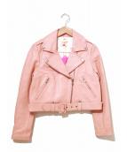 LILLILLY(リルリリー)の古着「カウレザーライダースジャケット」 ピンク