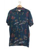 ()の古着「NEONアロハシャツ」 ネイビー