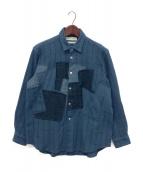 COMME des GARCONS SHIRT(コムデギャルソンシャツ)の古着「ウールパッチワークシャツ」|ブルー