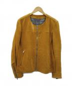 ABAHOUSE(アバハウス)の古着「ノーカラースウェードジャケット」|ブラウン