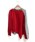 LOEWE(ロエベ)の古着「アシンメトリーツートーンセーター」|レッド