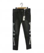 mnml(ミニマル)の古着「刺繍デニムパンツ」|ブラック
