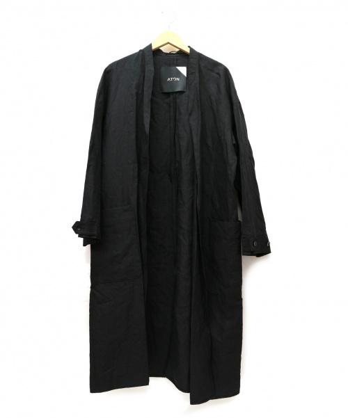 ATON(エイトン)ATON (エイトン) リネンウェザーガウンコート ブラック サイズ:02 B84~94 T160~170 20SS・LINEN WEATHER GAWN COATの古着・服飾アイテム
