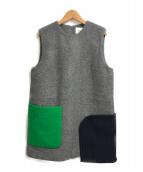 ()の古着「メルトンオーバーポケットミニワンピース」|グレー