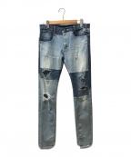 MIHARA YASUHIRO(ミハラヤスヒロ)の古着「素材切り替えクラッシュデニム」|ブルー