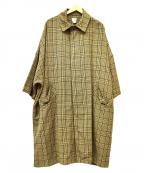 DELUXE(デラックス)の古着「ドロップショルダー ステンカラーコート」|ベージュ