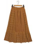 ()の古着「レースファブリックロングスカート」|キャメル