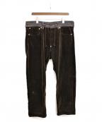 COMME des GARCONS JUNYA WATANABE MAN(コムデギャルソン ジュンヤワタナベマン)の古着「19AW レザーポケットコーデュロイパンツ」|ブラウン