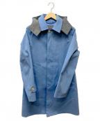 BLUE WORK(ブルーワーク)の古着「フード付ステンカラーコート」 スカイブルー