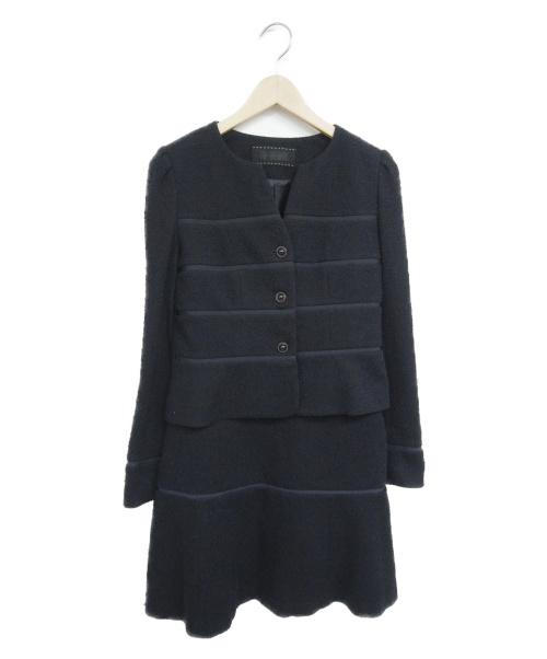 TO BE CHIC(トゥービーチック)TO BE CHIC (トゥービーシック) ツイードジャージーセットアップ ネイビー サイズ:38の古着・服飾アイテム
