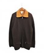 HERMES(エルメス)の古着「ジップカーディガン」|ブラウン