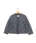 Coohem(コーヘン)の古着「ノーカラーツイードジャケット」|ネイビー