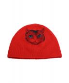 GUCCI(グッチ)の古着「ロゴキャットニット帽」|レッド